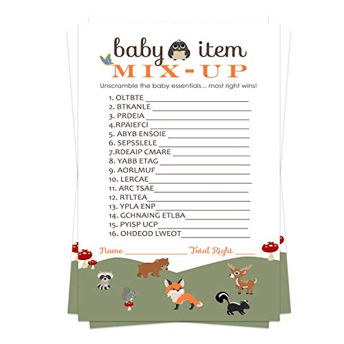 Woodland Baby Shower Word Scramble Game Cards (25 Pack) Unscramble Activity – Girl or Boy Neutral Forest Animals Theme Ideas