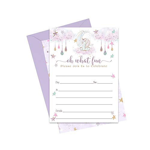 Whimsical Unicorn Invitations (20 Cards) Girls Baby Shower – Birthday – Gender Reveal – Rainbow, Star and Moon Party Supplies – Dream Big - Fill-in Blank Invites and Envelope Pack