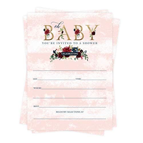 Oh Baby Shower Invitations (25 Cards) Girls Rustic Floral - Fill In Blank DIY Style Invite and Envelope Set - Sprinkle Ideas - Blush, Gold and Wine
