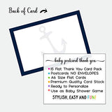 Nautical Baby Shower Postcard Thank You (15 Pack) Cards Only, Eco-Friendly - Ahoy Anchors Away - Navy and White