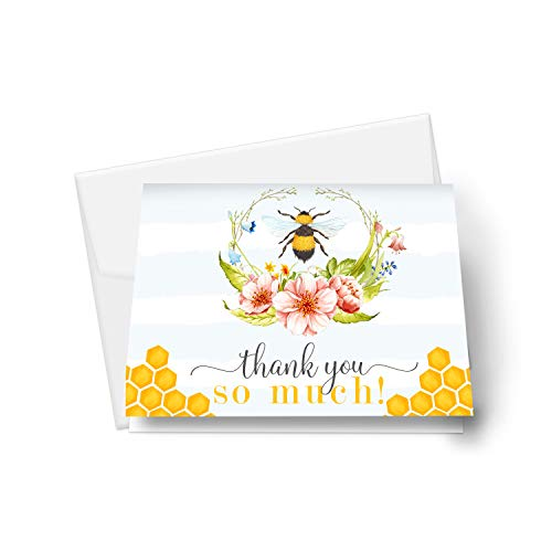 Bee Thank You Cards (25 Pack) Baby Shower - Gender Reveal – Rustic Bridal Shower – Party - Graduation – Floral and Bumblebee Style - Everyday Folded Stationery Note Set with Envelopes