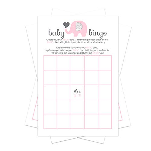 Pink Elephant Baby Shower Bingo Game Pack (25 Cards) Guests Fill-In Blanks with Gifts Guesses -Girls Little Peanut Theme – Cute Sprinkle Activities – Favors