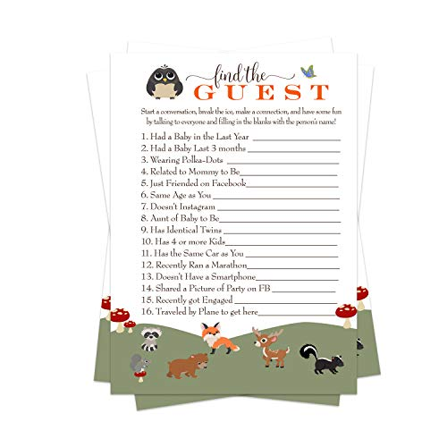 Woodland Baby Shower Game Pack (25 Cards) Find the Guest - Lets Mingle and Meet - Fun Conversation Starter - Neutral Sprinkle Activity - Boy or Girl - Little Forest Animals