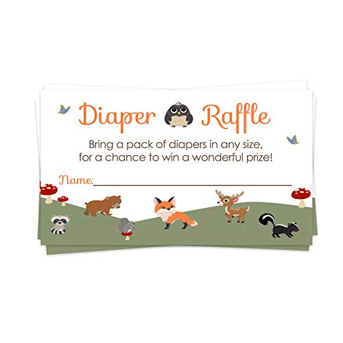 Woodland Diaper Raffle Ticket (25 Cards) Baby Shower Games – Invitation Inserts – Drawings for Sprinkle Activity – Neutral Boys or Girls - Little Forest Animals