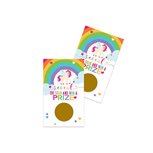 Unicorn Scratch Off Card Games (28 Pack) Girls Baby Shower – Kids Party Supplies – Drawings – Rainbow Favors – Raffle Tickets for Prizes – Colorful Stars