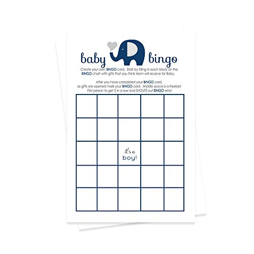 Navy Elephant Baby Shower Bingo Game Cards (25 Pack) Boys Little Peanut Theme - Fill-In Blank - Gift Guessing Activity Guests Play Compete for Prizes