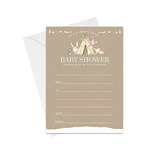 Woodland Christmas Baby Shower Invitations with Envelopes (25 Pack) Neutral Winter Wonderland Fill in Style Invites Rustic Christmas Sprinkle for Girls or Boys…