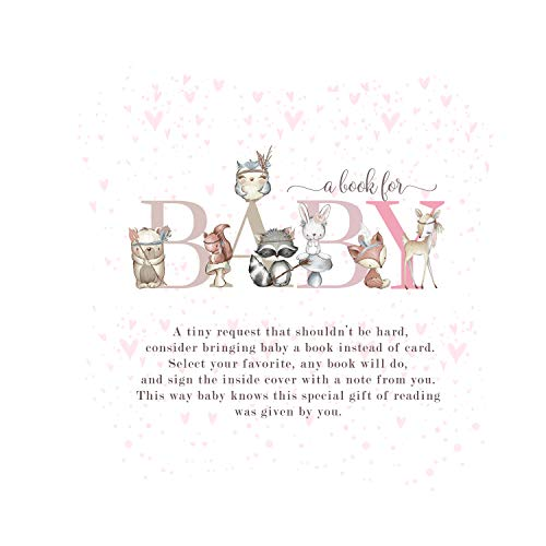 Woodland Friends Bring a Book for Baby Shower (25 Pack) Instead of Card Invitation Insert - Raffle Game Idea – Pink Forest Animal Party Supplies – Girls Boho