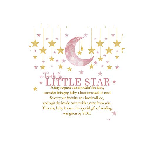 Twinkle Twinkle Little Star Bring a Book for Baby Shower (25 Pack) Instead of Card Invitation Insert - Raffle Game Idea – Pink and Gold – Girls Party Supplies – Sprinkles