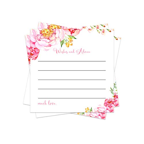 Floral Advice Cards (25 Pack) Girls Baby Shower Games - Bridal Shower Wishes - Wedding – Graduation Party - Wishing Well - Retirement - Engagement - Time Capsule – Pink Rustic Woodland