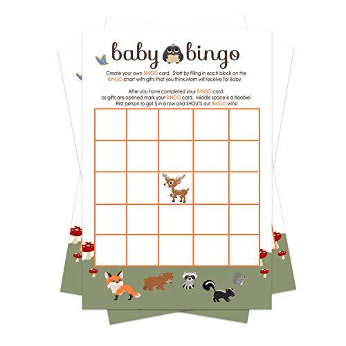 Woodland Baby Shower Bingo Game Pack (25 Cards) Guests Fill-In Blanks with Gifts Guesses - Neutral Boy or Girls - Sprinkle Activities – Cute Little Forest Animals