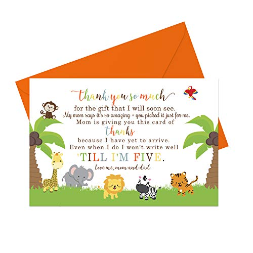 Cute Jungle Baby Thank You Cards and Orange Envelopes (15 Pack) - Neutral Boy or Girl - Zoo Animals - Babies Shower Stationery Set - A6 Flat Style Notecards