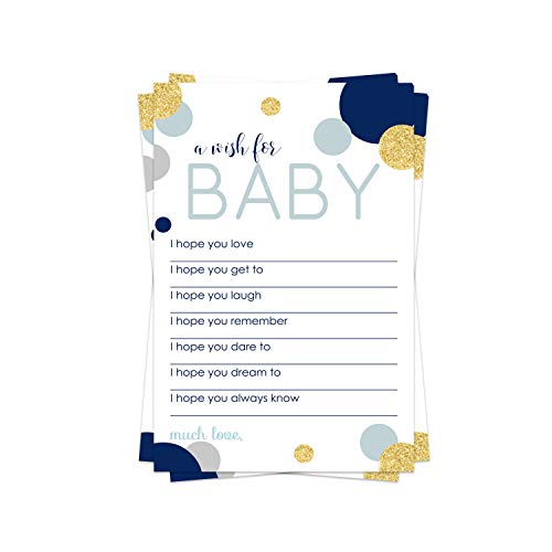 Abstract Wish for Baby Shower Game (20 Pack) Advice and Best Wishes – Wishing Well Cards – Birthday Time Capsule – Twinkle Star - Boys Sprinkle Activity – Royal Prince Party Supplies - Navy and Gold