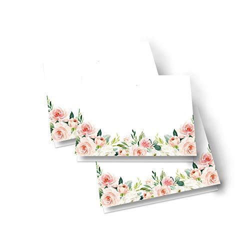 Graceful Floral Table Place Cards – (25 Pack) Bridal Shower – Dinner Party - Buffet Signs – Girls Baby Shower – Wedding - Seating – Many Uses – Folded - Blank to Personalize - Greenery Party Supplies
