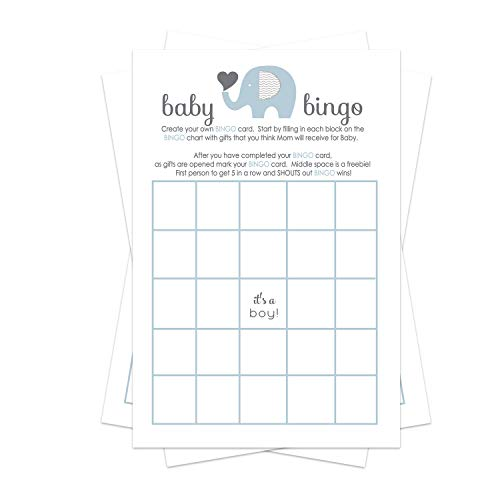 Blue Elephant Baby Shower Bingo Game Pack (25 Cards) Guests Fill-In Blanks