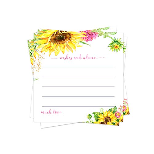 Sunflower Advice Cards (25 Pack) Bridal Shower Games - Baby Shower Wishes - Country Wedding Ideas – Graduation Party - Wishing Well - Retirement - Engagement - Time Capsule – Fall Floral