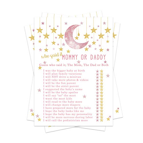 Twinkle Twinkle Little Star Baby Shower Game Pack - Mommy or Daddy (25 Cards) – Guess Which Parent Said It Activity – Girls Sprinkle – Gender Reveal Party - Pink and Gold
