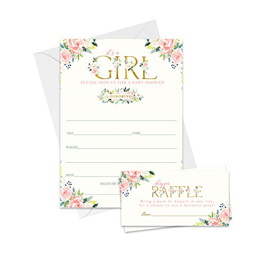 Oh Girl Baby Shower Invitation Bundle (25 Guests) Includes Fill in Blank Invites - Diaper Raffle Cards - White Envelopes - Girls Boho Woodland Floral Pink and Gold