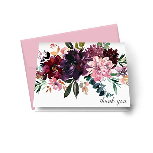 Shabby Floral Thank You Cards (20 Pack) Wedding – Bridal Shower – Engagement – Birthday - Graduation – Elegant Greenery Style - Everyday Folded Stationery Set with Pink Envelopes