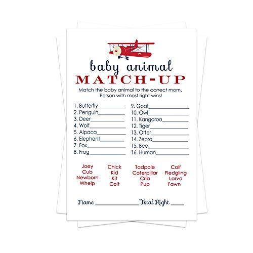 Airplane Baby Shower Animal Matching Game Pack (25 Cards)