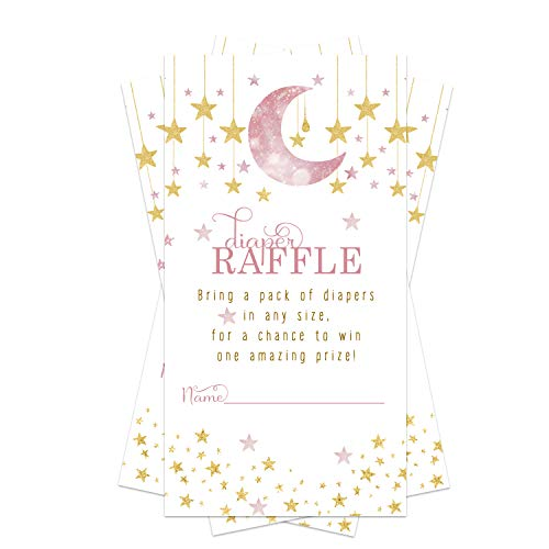 Twinkle Twinkle Little Star Diaper Raffle Ticket (50 Cards) Baby Shower Games – Invitation Inserts – Drawings for Sprinkle Activity – Girls - Pink and Gold Gender Reveal