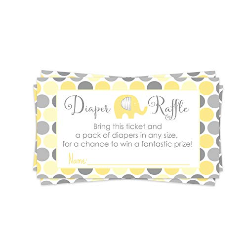 Yellow Elephant Diaper Raffle Ticket (25 Cards) Baby Shower Games – Invitation Inserts – Drawings for Sprinkle Activity – Neutral Boys or Girls - Little Peanut Animal Theme