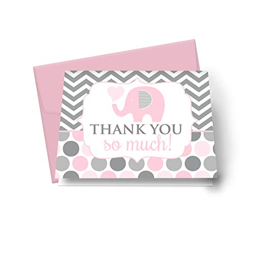 Pink Elephant Elephant Thank You Cards (20 Pack) Girls Baby Shower – Jungle Animal Notecards - Little Peanut Party Supplies – Everyday Style Folded Stationery Notes Set with Envelopes