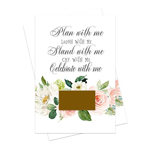 Graceful Floral Bridesmaid Scratch Off Cards (8 Pack) Stand with Me Maid of Honor - Asking My Best Friends - Can't Without You Matron of Honor - Wedding Party Proposal Invites with Gold Envelopes