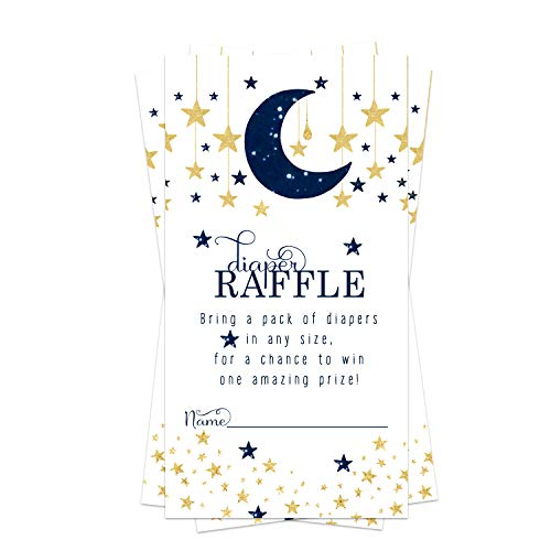 Twinkle Twinkle Little Star Diaper Raffle Ticket (50 Cards) Baby Shower Games – Invitation Inserts – Drawings for Sprinkle Activity – Boys - Navy and Gold Gender Reveal