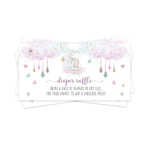Whimsical Unicorn Diaper Raffle Ticket (25 Cards) Baby Shower Games – Invitation Inserts – Drawings for Sprinkle Activity – Twinkle Star, Moon and Rainbows - Pink