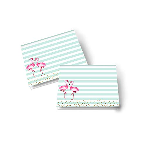 Flamingo Table Place Cards – (25 Pack)– Bridal Shower – Dinner Party - Buffet Signs – Girls Baby Shower – Wedding Seating – Many Uses – Folded - Blank Easily Personalize - Pink and Gold Party Supplies