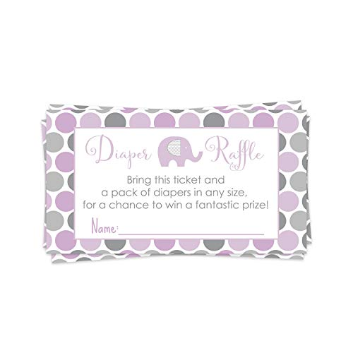 Purple Elephant Diaper Raffle Ticket (25 Cards) Baby Shower Games – Invitation Inserts – Drawings for Sprinkle Activity – Girls Little Peanut Animal Theme