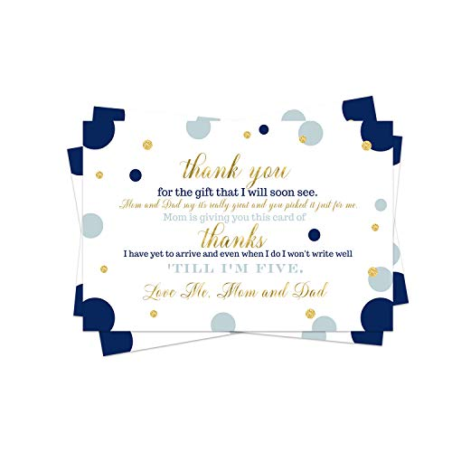 Navy and Gold Baby Thank You Postcard (15 Pack) Boys Little Prince Royal Shower Theme - Size A6 Flat Note Cards Only - No Envelopes - Eco-Friendly