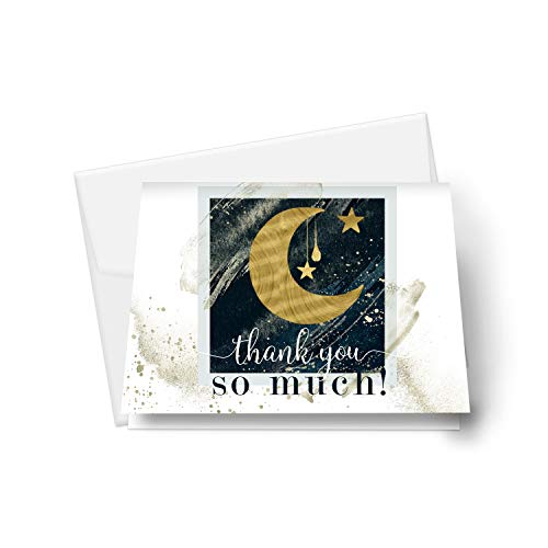 Star and Moon Thank You Cards (25 Pack) Baby Shower – Wedding – Twinkle Little Star - Blue and Gold Party Supplies - Celestial Folded Style - Everyday Stationery Note Set with Envelopes