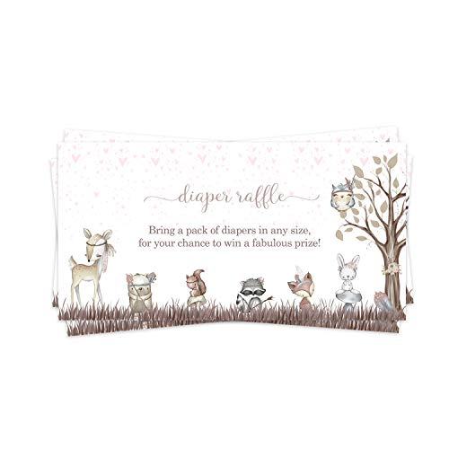 Woodland Friends Diaper Raffle Ticket (25 Cards) Baby Shower Games – Invitation Inserts – Drawings for Sprinkle Activity – Cute Pink Floral and Little Forest Animals