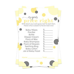 Yellow and Gray Baby Shower Guess the Price Game Pack (25 Cards) Fun Activity for Sprinkle - Neutral Boy or Girl - Mama to Bee - Gender Reveal Party