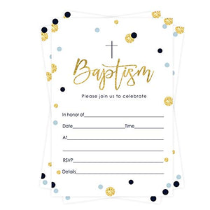 Blue and Gold Baptism Invitations (15 Guests) Christening – Naming Ceremony – Dedication – Confirmation – Communion – Boys Party Supplies - Fill in Blank Style Invite Cards and Envelope Set DIY