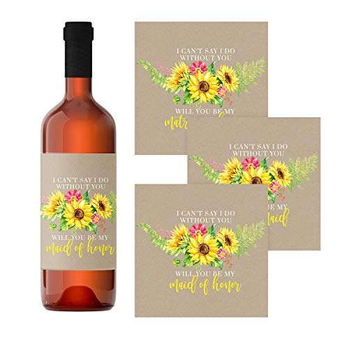 Sunflower Bridesmaid Wine Bottle Labels (12 Pack) Be my Maid of Honor, Matron of Honor – Asking Wedding Party Proposal Stickers – Bridal Attendant Gift Box Ideas - Rustic Fall Floral