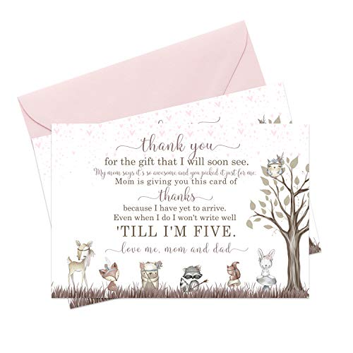 Woodland Friends Baby Shower Thank You Cards and Pink Envelopes (15 Pack) Girls Rustic Boho Floral - Little Forest Animals - Babies Stationery Set - A6 Flat Notecards