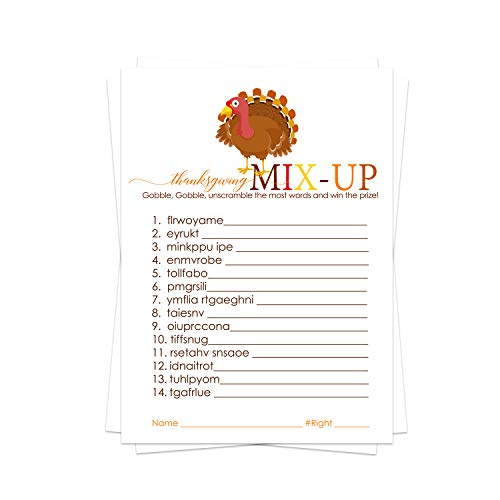 Thanksgiving Party Game Pack (25 Cards) Word Scramble - Fun Unscramble Activity for Family, Groups, Guest, Kids, Friends, Kids - Friendsgiving - Fall Gatherings