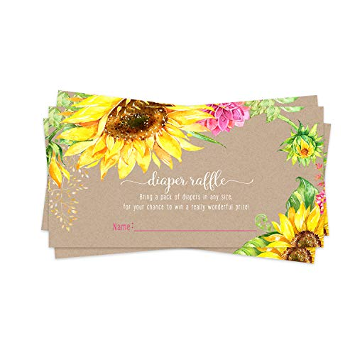 Sunflower Diaper Raffle Ticket (25 Cards) Baby Shower Games – Invitation Inserts – Drawings for Sprinkle Activity – Girls or Boys - Rustic Fall Floral - Yellow and Pink