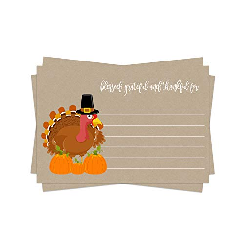 Thanksgiving Party Game (25 Pack) Feeling Thankful, Blessed, Grateful for Fill In Cards – Uses Dinner, Families, Friends, Groups, Baby Shower, Any Fall Event - Turkey Themed Supplies