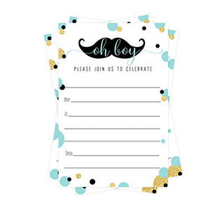 Mustache Baby Shower Invitations (15 Guests) Oh Boy Party Supplies - Little Man Sprinkle - Mint, Black and Gold - Set of DIY Fill in Blank Invite Cards and Envelope Pack