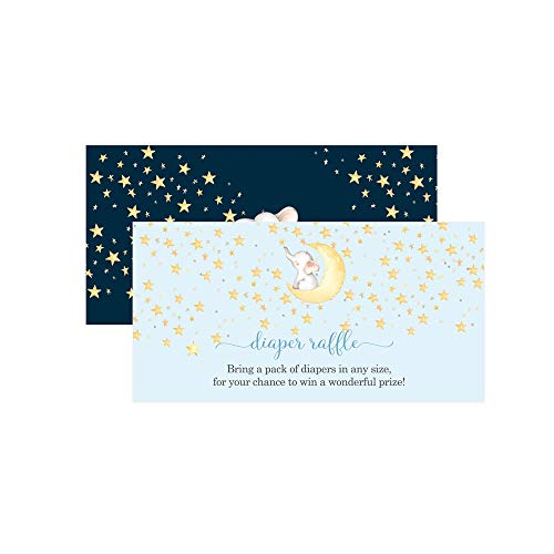 Starry Elephant Diaper Raffle Ticket (25 Cards) Baby Shower Games – Invitation Inserts – Drawings for Sprinkle Activity – Boys Star and Moon - Blue and Gold