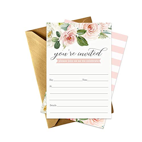 Graceful Floral Invitations (15 Pack) Bridal Shower - Baby Shower - Country Wedding Theme - Engagement Party - Graduation - Greenery Party Supplies - DIY Fill in Invites and Gold Envelopes Set