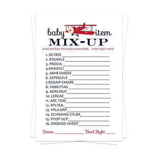 Airplane Baby Shower Word Scramble Game Pack (25 Cards) Unscramble - Navy Blue and Red