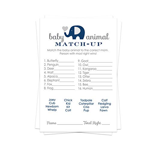 Navy Blue Elephant Baby Shower Animal Matching Game Pack (25 Cards) Fun Guess the Pair Activity - Sprinkle - Adults - Groups - Kids Birthday – Cute Little Peanut Party Supplies