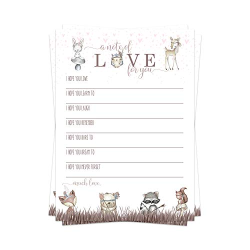 Woodland Friends Wish for Baby Shower Game (25 Pack) Advice and Best Wishes – Wishing Well Cards – Pink Birthday Time Capsule – Girls Sprinkle Activity – Cute Little Forest Animal Party Supplies