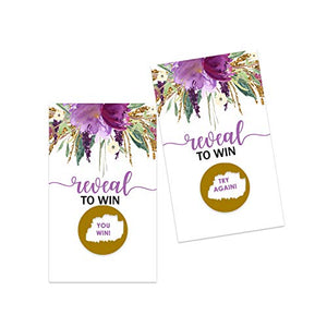 Purple Floral Scratch Off Cards (28 pack) Games for Bridal Shower - Rustic Party Supplies - Girls Baby Shower - Graduation Raffles Tickets for Prizes - Diaper Drawings
