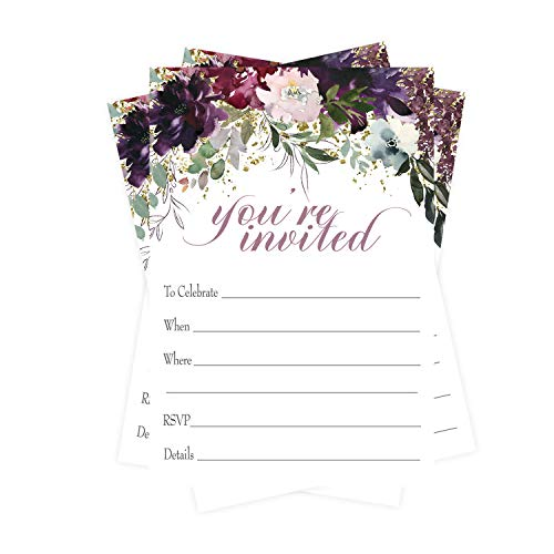 Shabby Floral Invitations (15 Guests) Rustic Bridal Shower - Engagement – Girls Baby Shower - Birthday - Baptism - Greenery Party Supplies - Fill in Blank Style Invite Cards and Envelope Set DIY